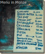 menu in monze