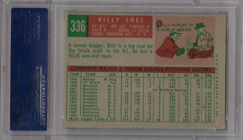 1959 Topps 336B billy loes no trade statement back