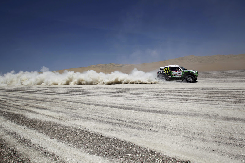 Mini driver Stephane Peterhansel and co-driver Jean Paul Cottret, both from France, compete in the 13th stage of the 2012 Argentina-Chile-Peru Dakar Rally between Nazca and Pisco, Peru, Saturday Jan. 14, 2012. (AP Photo/Martin Mejia)