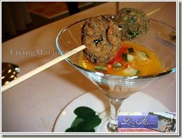 Joemary Grace Balza's Papaya Gazpacho w/spiced veggie skewers