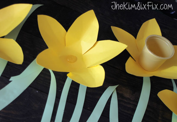 Hot gluing paper flowers
