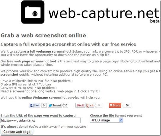 Web-capture net screenshot intera pagina internet