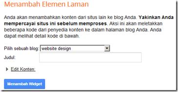 jendela add widget to your blog