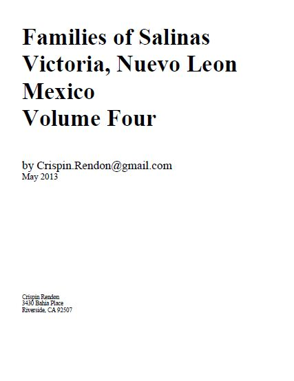 Families of Salinas Victoria, Nuevo Leon, Mexico Volume Four.JPG