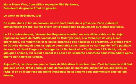 Comunicat del Front de Gauche PRS e mòrt de Fijac