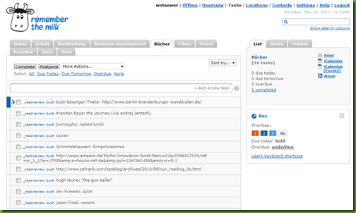 remember the milk - todo and task management work area screenshot