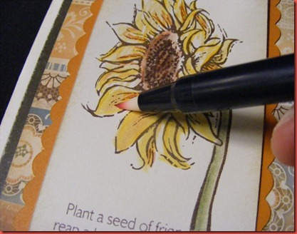 May 2012 SOTM florentine_sunflower card closeup blending pen