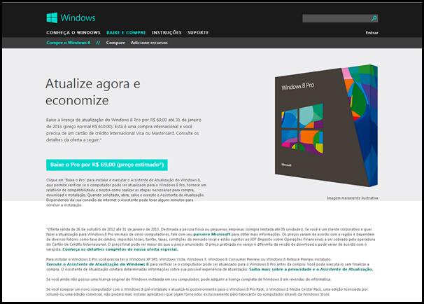 Oferta de atualização do Windows 8 Pro
