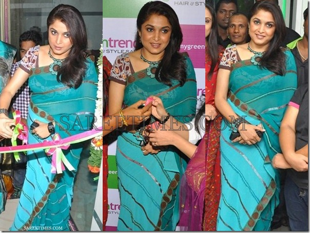 Ramya_Krishna_Green_Saree