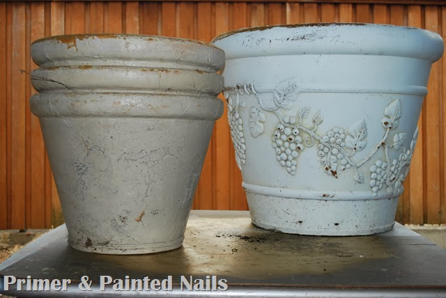 Planters Before - Primer & Painted Nails
