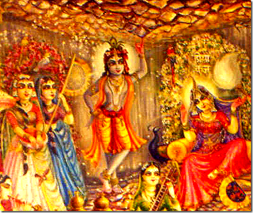 [Krishna lifting up Govardhana Hill]