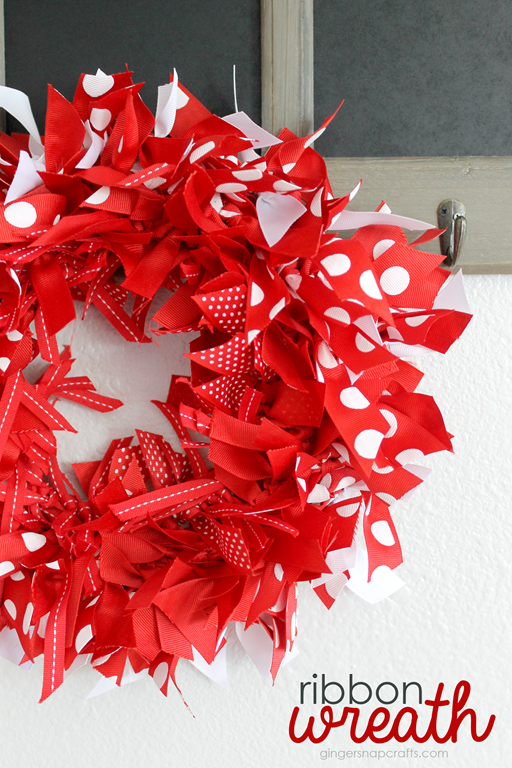 Ribbon Wreath with Offray.com at GingerSnapCrafts.com #ribbon #crafts