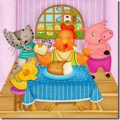 Desenho de galinha ruiva comendo bolo enquanto porco, gato e pato observam, contrariados