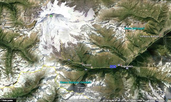 Carte du versant Nord du Caucase : le Mont Elbrouz et Terskol