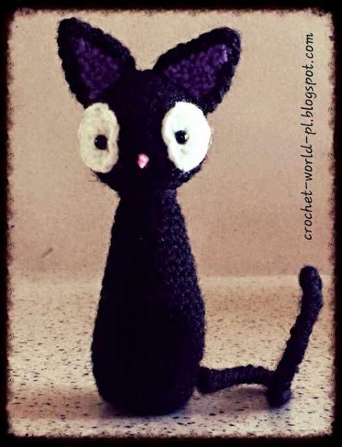 Crochet World PL: Amigurumi: czarny kotek JiJi