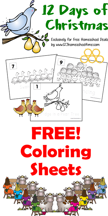 Free 12 Days of Christmas Coloring Pages #christmas #coloringpages #preschool