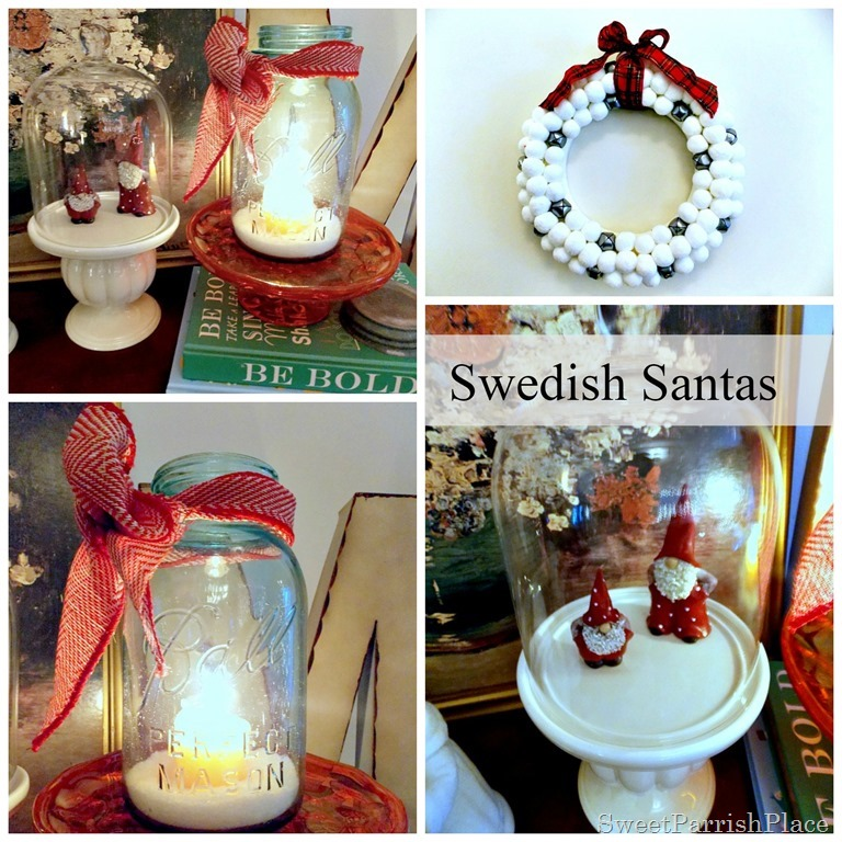 Swedish Santas, mason jar and wreath