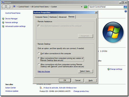 Remote Desktop option