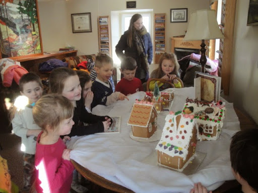 Warming up In Library<br />and<br />Admiring the Ginger Bread House Collection