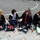 Goth kids on Jingu bridge in Harajuku in Harajuku, Tokyo, Japan