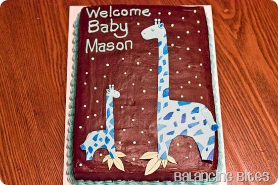 Giraffe Baby Shower Cake chocolate cake with ganache--Balancing Bites
