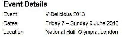 V-Delicious Event Details