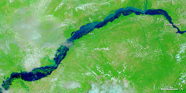 Satellite view of a stretch of the Benue River in eastern Nigeria, around the city of Lau, 8 September 2012. Between early July and early September 2012, flooding claimed an estimated 137 lives in Nigeria and forced thousands more to relocate. In 2009, the Benue River was a relatively thin river bordered by small, isolated water bodies. Three years later, the river had spilled over its banks, engulfing the small lakes on either side. NASA image courtesy LANCE MODIS Rapid Response Team at NASA GSFC