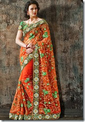 Orange Net Saree - Kopanaa