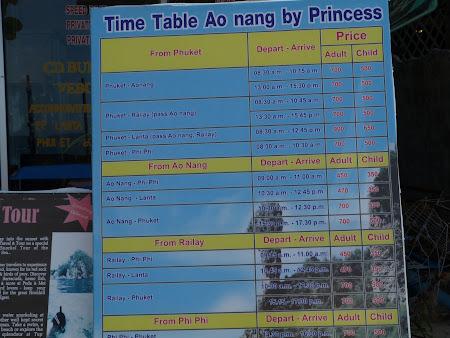 Preturi la barci Thailanda Krabi