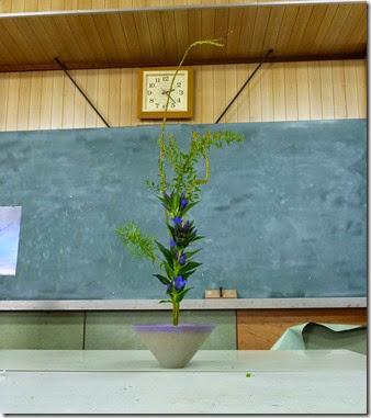 【生花新風体三種】石化柳、リンドウ、ユキヤナギ