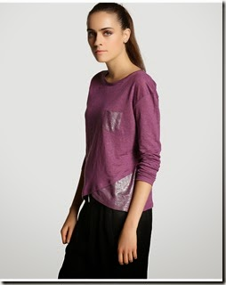 camiseta 100% lino en color ciruela con adornos laminados Tintoretto 26€