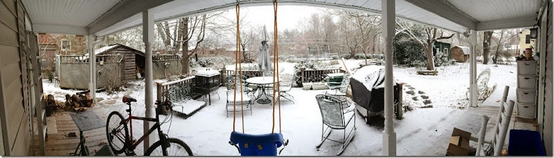 Back porch panoramic  snow 1 21 14