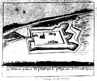 """1e Schans Tekst onder de afbeelding: """"De Ommerschans de plattegrond gelegen aan de (Overijsselse?) Vecht"""" ### Bron: Vereniging De Ommerschans"""