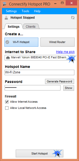 Create a Wi-Fi hotspot in Connectify Hotspot (www.kunal-chowdhury.com)