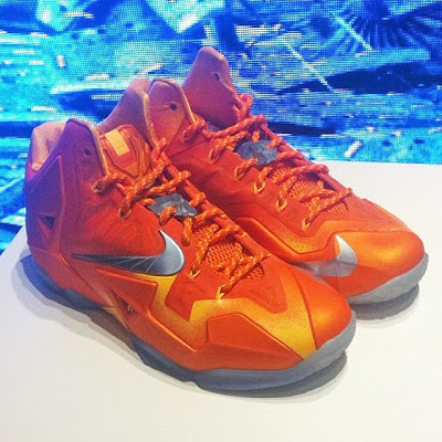 nike lebron 11 gr atomic orange First Look at Nike LeBron XI (11) Atomic Orange Forging Iron