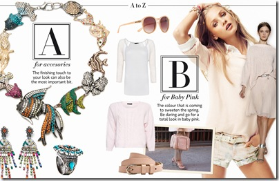 A for accesories, B for baby pink