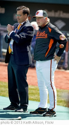 'Dan Duquette, Buck Showalter' photo (c) 2013, Keith Allison - license: http://creativecommons.org/licenses/by-sa/2.0/