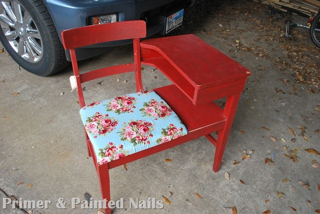 Gossip Chair Before - Primer & Painted Nails (2)
