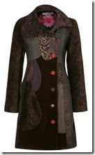 Desigual Patchwork Coat with Jewelled Buttons