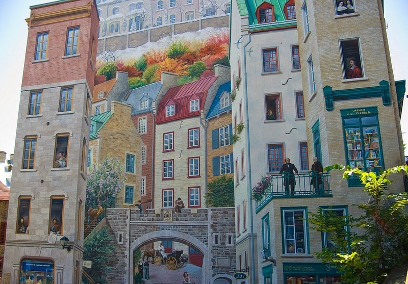 The eye deceiving murals of quebec city amusing planet for Mural quebec city