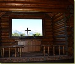 View through church window