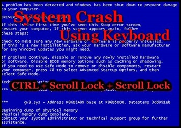 How to: Crash your System (BSOD) using keyboard a Registry Hack
