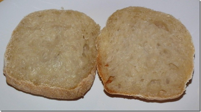 Inside a ciabatta roll