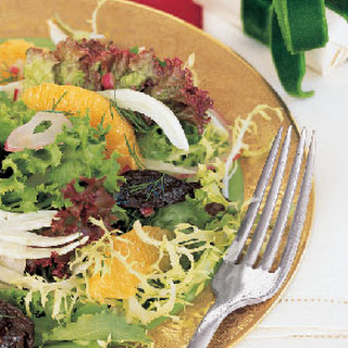 Prune, Orange, Fennel, and Red Onion Salad with Mixed Greens