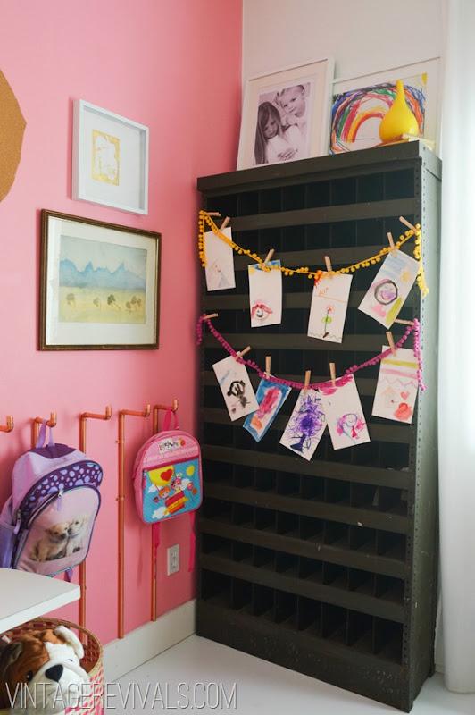 Industrial Metal Shelf Pink Wall @ Vintage Revivals