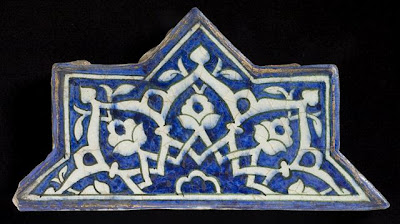 Tiles | Origin: Greater Iran | Period:  circa 1444 | Collection: The Madina Collection of Islamic Art, gift of Camilla Chandler Frost (M.2002.1.259a-b) | Type: Ceramic; Architectural element, Fritware, underglaze-painted, a: 11 1/4 x 5 11/16 in. (28.57 x 14.44 cm); b: 27 15/16 x 18 1/8 in. (70.96 x 46.03 cm); c: 11 1/4 x 5 11/16 in. (28.57 x 14.44 cm)