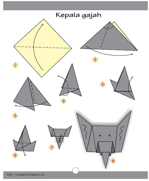 Langkah-langkah Membuat Origami Kepala Gajah adalah sbb :