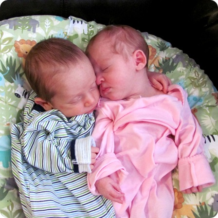 Twins Snuggling Together