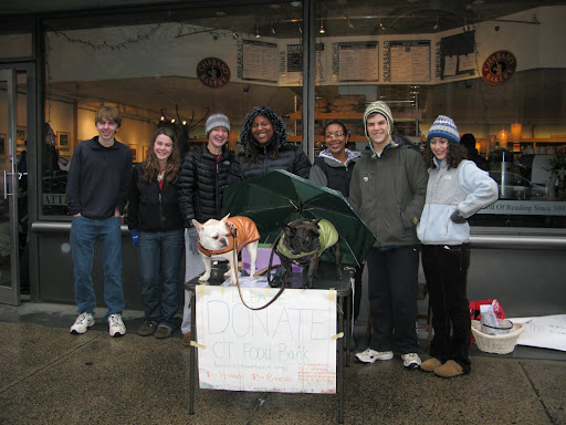 Walking along the wet streets of New Haven, we came upon a group of students who were raising money for the Connecticut Food Bank.  We decided to help them for a while and many people stopped and donated to this worthy cause.