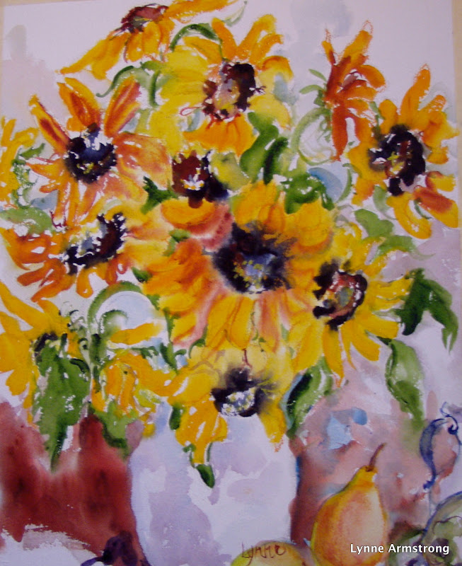 Sunflowers with Pear